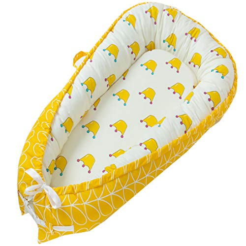 Great Deal! Abreeze Baby Bassinet for Bed, Yellow Crown Baby Lounger,Baby Nest,Cotton Crib Breathabl...