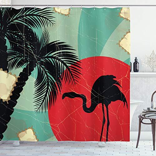 ABAKUHAUS Tropical Cortina de Baño, Grunge Flamenco de Palm, Material Resistente al Agua Durable Estampa Digital, 175 x 180 cm, Multicolor