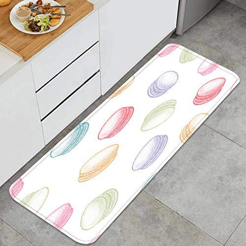 ZUL Juegos de alfombras de Cocina Multiusos,Postre macarrones franceses Macaron Vector Transparente,Alfombrillas cómodas para Uso en el Piso de Cocina súper absorbentes y Antideslizantes