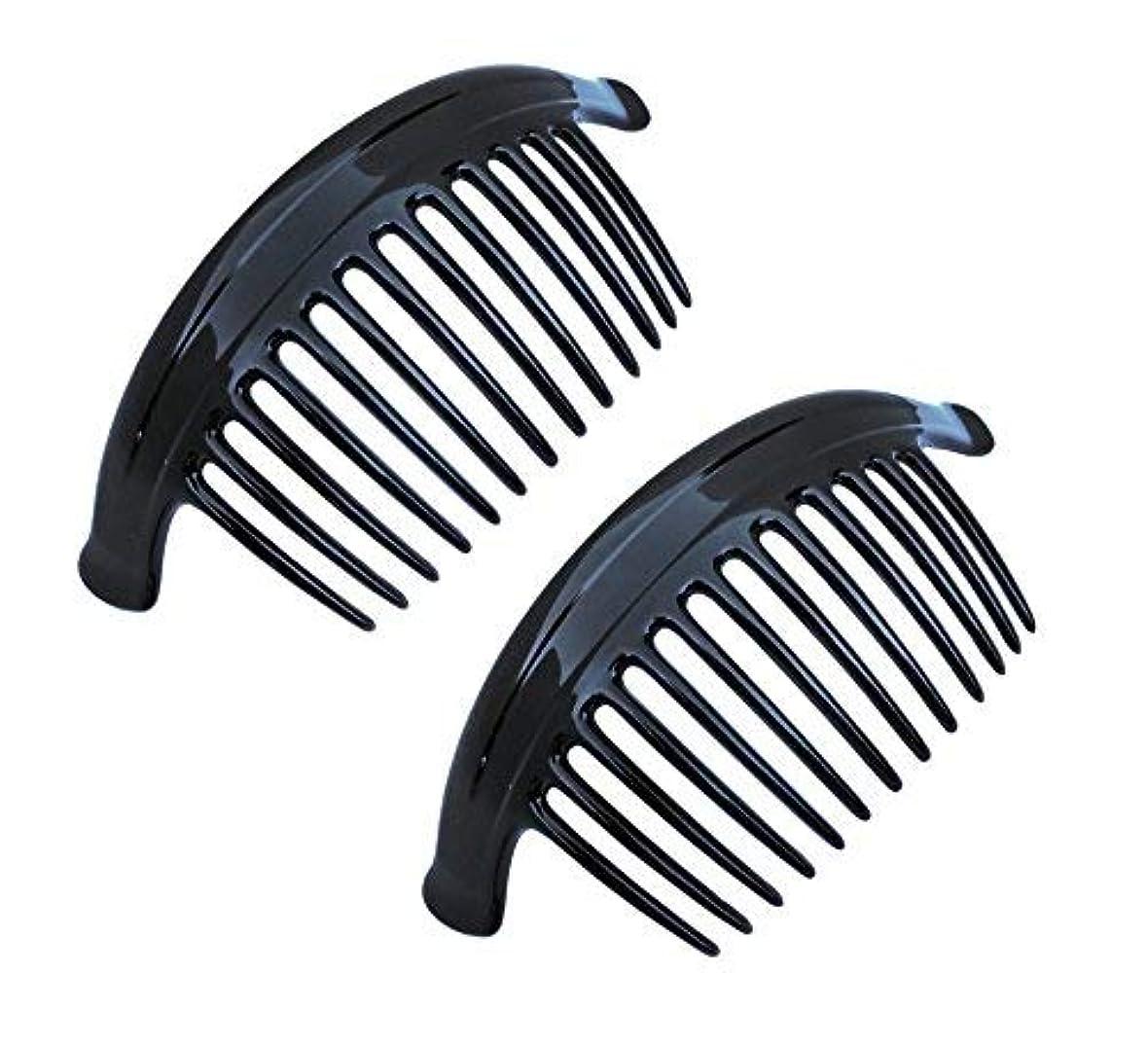 豪華な真剣に乱暴なParcelona French Arch Extra Large Black 13 Teeth Interlocking Side Hair Combs Pair [並行輸入品]