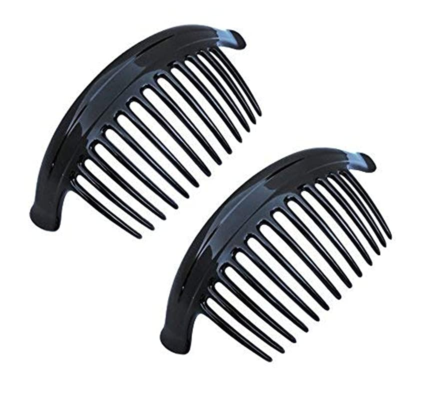 側合金砂利Parcelona French Arch Extra Large Black 13 Teeth Interlocking Side Hair Combs Pair [並行輸入品]