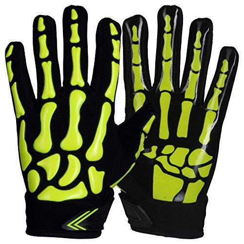 Prostyle Skeleton, Leicht Gepolsterte American Football RB, LB Handschuhe - Neongrün Gr. 2XL
