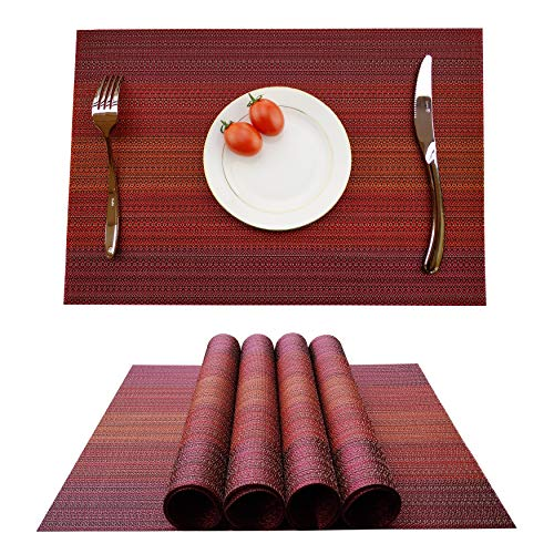 KOKAKO Placemats Washable Dining Table Place Mats PVC Kitchen Table Mats,Set of 4(Dark Red)