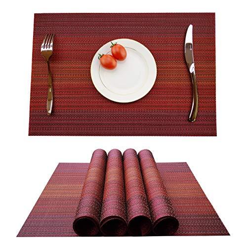 Kokako - Set di 4 tovagliette all'americana, antiscivolo, lavabili, in PVC, resistenti al calore, resistenti allo sporco e lavabili, ideali per la cucina e la tavola, Fibra sintetica, Colore: rosso, 4