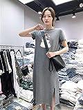 YGDH Verano Mitad De La Longitud Camiseta De Las Señoras del Vestido De Las Mujeres De División Informal De...
