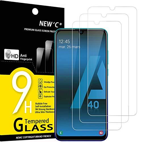 NEW'C 3 Pezzi, Vetro Temperato Compatibile con Samsung Galaxy A40 (SM-A405F), Pellicola Prottetiva Anti Graffio, Anti-Impronte, Durezza 9H, 0,33mm Ultra Trasparente, Ultra Resistente