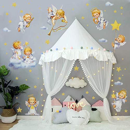 decalmile Wandtattoo Engel Wandsticker Sterne Wolke Süße Träume Wandaufkleber Kinderzimmer Babyzimmer Schlafzimmer Wanddeko