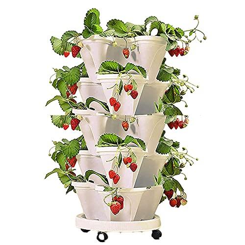 Apofly Fragola Fioriere Impilabile Fiore Torre Multistrato Vaso da Fiori Quattro Petalo Planter Verticale con 1 Vassoio 5 Ruote per Strawberry Orto Balcone Bianco