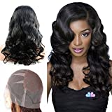 Mike & Mary Top 7A Brazilian Virgin Human Hair Full Lace Wigs for Black Women Body Wave Unprocessed Natural Color Handmade Human Hair Wigs (10inch, Natural Color)