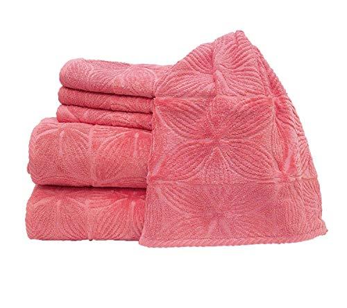 my cocooning Handtuch Set Agatha 6-teilig Pink | kuschelweich & saugfähig | 100{d20b7718b3544377e888769b5946b69422cbdced2151aa8d0d6811b640dbde1b} Baumwolle | 2X große Duschtücher (70x140cm) & 4X kleine Handtücher (50x80cm) | waschmaschinenfest