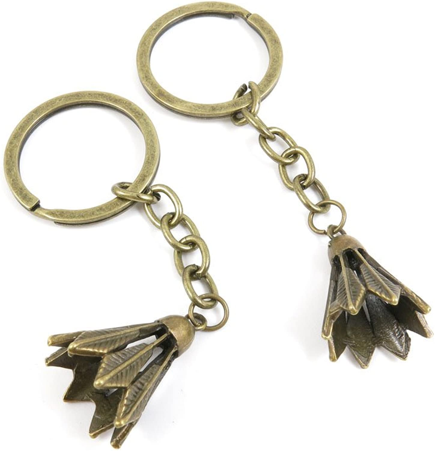 100 PCS Keyrings Keychains Key Ring Chains Tags Jewelry Findings Clasps Buckles Supplies U1IZ5 Badminton Shuttlecock
