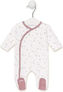 TOUS BABY Langarm-Strampler mit Chill-Muster für Ihr Baby. Farben: Braun und Himmelblau 1 bis 18 Monate.