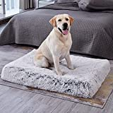 WESTERN HOME WH Large Dog Bed for Large Medium Dogs Cats Up to 90lbs, Orthopedic Fluffy Plush Faux Fur Pet Bed with Removable Washable Cover, Calming Memory Foam Dog Crate Bed