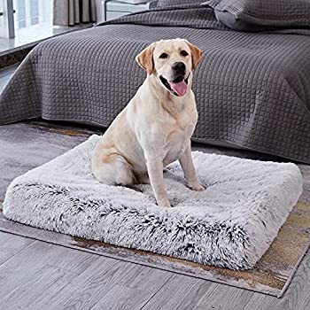 WESTERN HOME WH Large Dog Bed for Large Medium Dogs Cats Up to 90lbs Orthopedic Fluffy Plush Faux Fur Pet Bed with Removable Washable Cover Calming Egg Crate Foam Dog Crate Bed