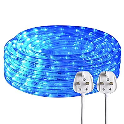 SURNIE 220V 15M Led Outdoor Blue Rope Light Waterproof Mains Powered.540 2835 Strip Light Kit for Home and Commercial. (Blue)