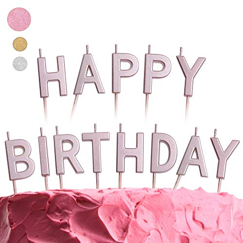 GET FRESH Pink Happy Birthday Candles Set – 13 Count Rose Gold Letter Birthday Candles for Cake – Elegant Alphabet Candles for Birthday Party – Unique Pink Happy Bday Cake Candles for Adults and Kids