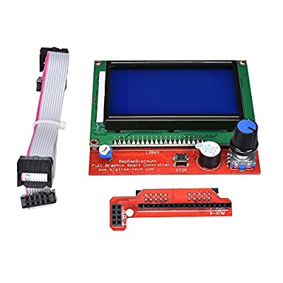 KINGPRINT 12864 LCD Graphic Smart Display Controller Board with Adapter and Cable for 3D Printer RAMPS 1.4 RepRap 3D Printer Mendel Prusa Arduino