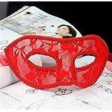 HuaQingPiJu-JP 半透明レースハロウィンパーティーセクシーなパフォーマンスマスクアイマスク(赤)