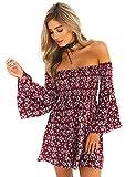 ONEYIM Women's Dress Summer Floral Long Sleeve Off Shoulder Casual Mini Dresses(Maroon,L)