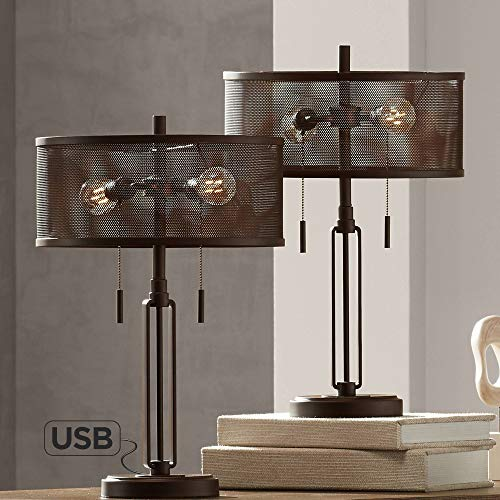 Dayn Industrial Rustic Farmhouse Accent Table Lamps Set of 2 with Antique LED Edison Bulb Brown Metal Mesh Shade for Living Room Bedroom House Bedside Nightstand Home Office - Franklin Iron Works
