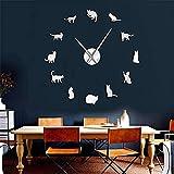 YQMJLF Reloj Pared DIY 3D Grande Arte Gato DIY Reloj Pared 3D...