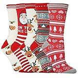 Calcetines de Navidad para mujeres, calcetines de Navidad Set de regalo de Papá Noel para niños unisex de Navidad divertidos calcetines para señora mujeres Santa Medias