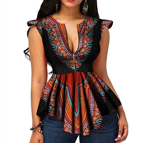VERWIN African Color Block Zipper Sleeveless Women's Blouse Fashion Asymmetric Print Women's Top Shirt (Large, Black)