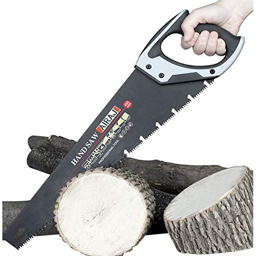 AIRAJ18 pollici Sega a mano professionale, sega manuale per il taglio del legno, impugnatura ergonomica in gomma, ideale per il taglio, giardinaggio, taglio del legno, tubi di plastica