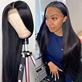 Straight Human Hair Lace Front headband Wigs Brazilian Virgin Hair Lace Closure long Wigs for Black Women 150% Density Pre Plucked with Baby Hair Natural Hairline Wigs (22 inch, straight wig)