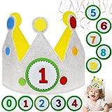 Lunriwis Corona para cumpleaños,Corona de Cumpleaños para Bebe,Coronas Cumpleaños Infantiles para Niños y Niñas, corona muñecos con números del 1 al 9