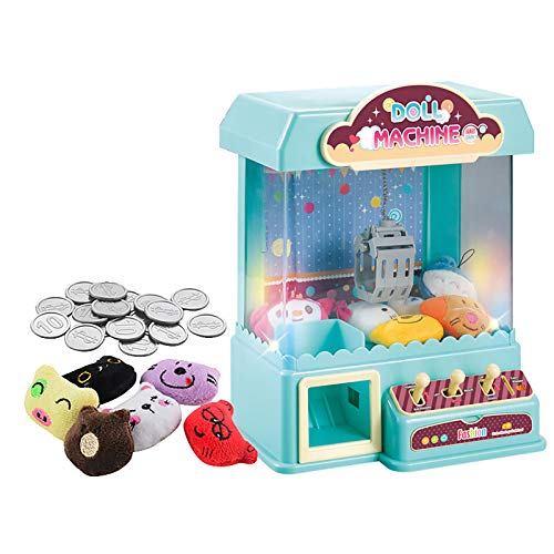 Mini Claw Machine for Kids - Children's Small Mini Electric Claw Machine with Light Music Coin Game Box, Fill with Small Plush Toys and Coins, Great Coin Operated Catcher Toys Gift for Kids (Blue)
