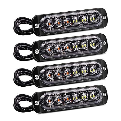 YnGia 4 luces estroboscópicas, 6 LED de emergencia, advertencia de peligro, luz intermitente, resistente al agua, ámbar y blanco, barra de luz de baliza de avería, 12V 24V universal para coche, camión