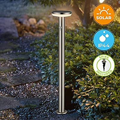 """BRIMMEL Outdoor Solar Landscape Path Lights with Motion Senor Stainless Steel Waterproof 8H Endurance Cordless Landscaping Garden Light for Pathway Driveway Garden, Solar Energy, Silver, 32"""", SG601156"""