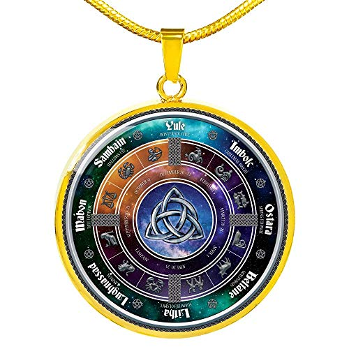 Wiccan Pentagram necklaces Pendant Pentagram Jewelry Wicca Pagan Religion Celtic Calendar Pendant Necklace Zodiac Elemental Pentacle Gift - Includes Gift Box! (Celtic Calendar, gold-plated)
