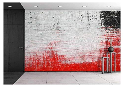 wall26 - Stroke of a Brush with White,Black and Red Paint on a Dusty Metal Fence - Textured Abstract Background-Close Up - Removable Wall Mural | Self-Adhesive Large Wallpaper - 100x144 inches