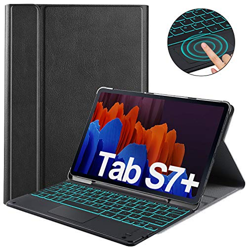 IVSO Keyboard with Touchpad Compatible Samsung Galaxy Tab S7+/S7 Plus, 7 Colors Backlit 3 Level Brightness, Wireless Keyboard Case with Touchpad for Samsung Galaxy Tab S7+/Tab S7 Plus 12.4 2020,Black