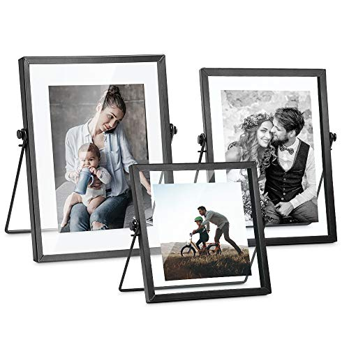 Set of 3 Glass Picture Frame, Collection Simple Metal Floating Frame with Glass Cover Includes 4x4, 4x 6, 5x7