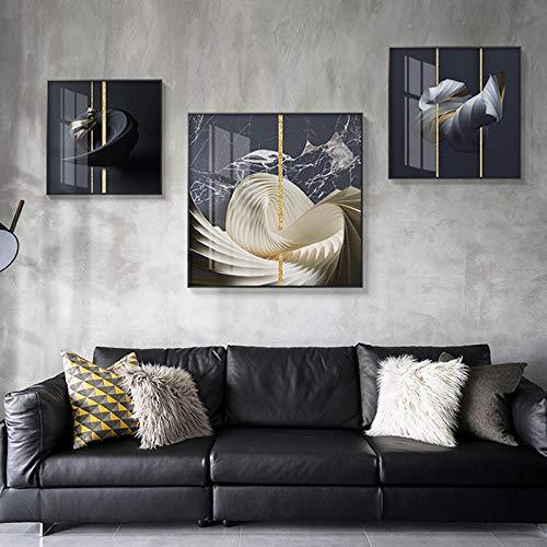 Minimalista Lienzo Pintura Arte de la Pared Decoración del hogar Estilo Abstracto Vórtice con líneas Doradas Cuadros de Pared para Sala de Estar Dormitorio-50x50cmx3 Pieza(Sin Marco)