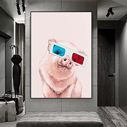 MROUBAO Piggy Rosa con Gafas Kit de Pintura con Diamantes 5D Cristales para Manualidades Kit de Pintura Decoracion Pared Salon 40x50cmSin Marco