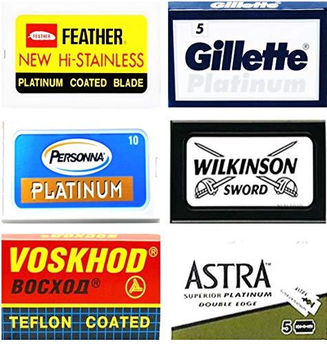 40 Rasierklingen Sampler Feather, Gillẹtte, Personna, Wilkinson, Voskhod, Astra