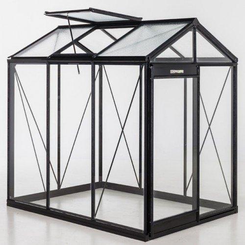 Glas-Gewächshaus Piccolo-S schwarz 3,56 m²