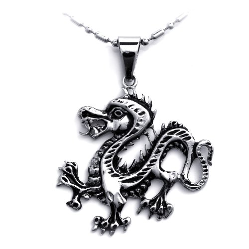 JewelryWe Schmuck Edelstahl Herren Stammes Biker Drachen Anhänger Halskette Kette