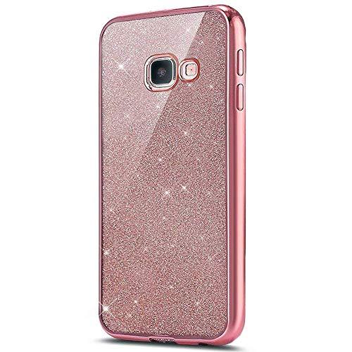 kompatibel mit Galaxy A5 2016 Hülle,Galaxy A5 2016 Silikon Hülle Glitzer,Galaxy A5 2016 TPU Silikon Bumper Handyhülle Schutzhülle,Ultradünn TPU Silikon Hülle Schutz Handy Hülle Case,Rose Gold
