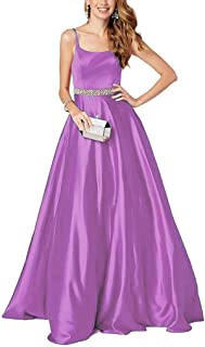 Neggcy Prom Dresses Satin Evening Gowns Spaghetti Straps Prom Dress Long Evening Dress Beaded