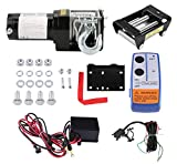 Polipasto Eléctric, Juego de cabrestante eléctrico de 3000LB / 1360KG, 12 V cabestrante Eléctrico Cable con Gancho Cabestrante y Mando de Distancia