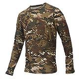 Alomejor Camicia Tattica, 3D Maglietta in Camouflage da Uomo con Manica Lunga Elastico per la Caccia Trekking Arrampicata (L)
