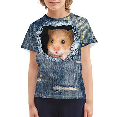 Chaqlin - Camiseta para niños y niñas, diseño creativo con cuello redondo, manga corta, para niños de 3 a 16 años Hámster de mezclilla 7-8 Años