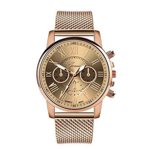 damnef Reloj de pulsera para mujer, de silicona, con correa de rejilla, redondo, de cuarzo, casual