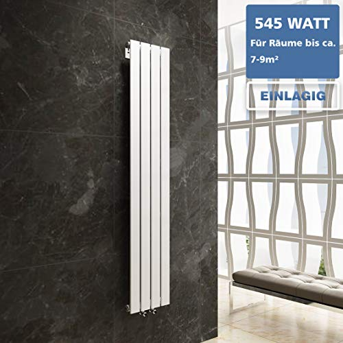 Design Flach Heizkörper Badheizkörper 1800x304mm Weiß Paneelheizkörper Wohnraumheizkörper Plattenheizkörper Mittelanschluss Einlagig 545Watt