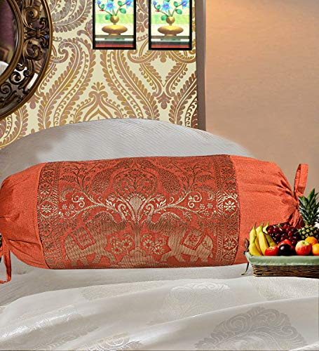 Real Online Seller Indian Polydupion Cylindrical Tube Pillow Bolster Pillow Covers Orange Jacquard Brocade Border Elephant Large Couch Round Cylinder Cushion Covers (Set of 2)